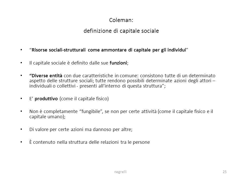 Coleman: definizione di capitale sociale