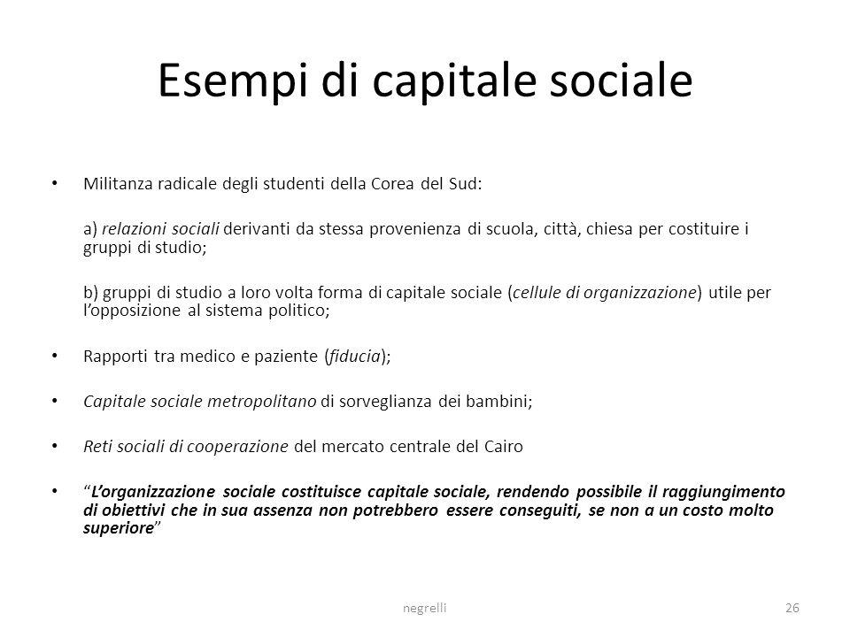 Esempi di capitale sociale