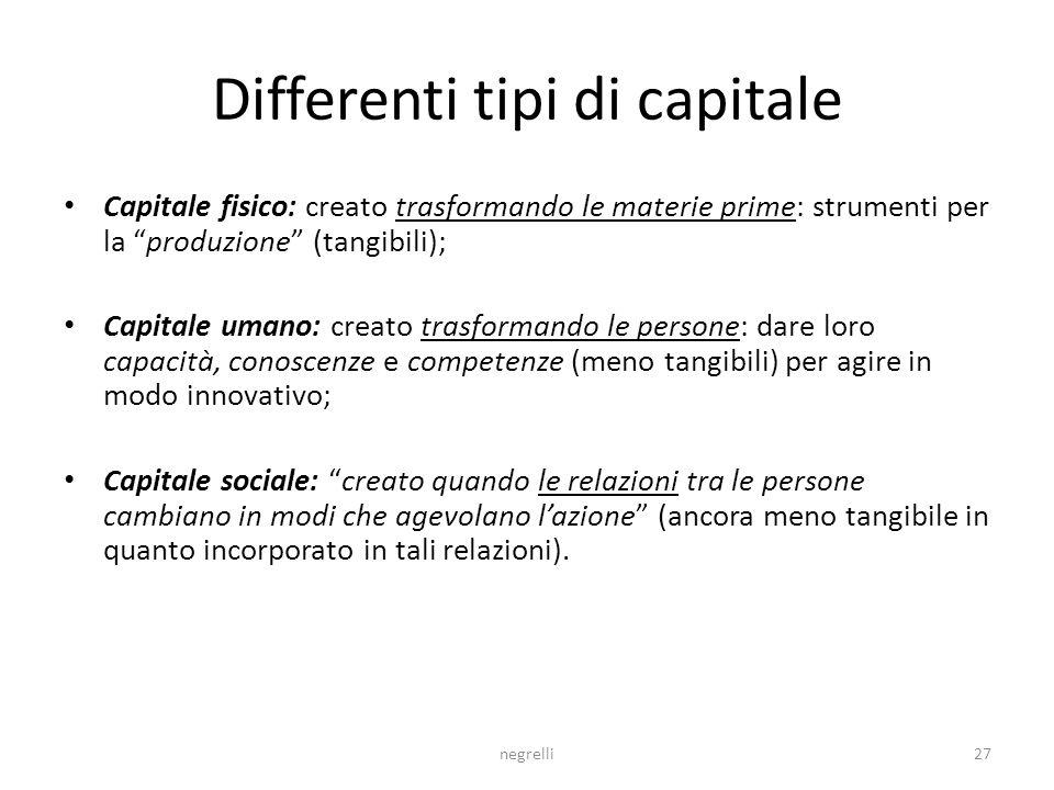 Differenti tipi di capitale