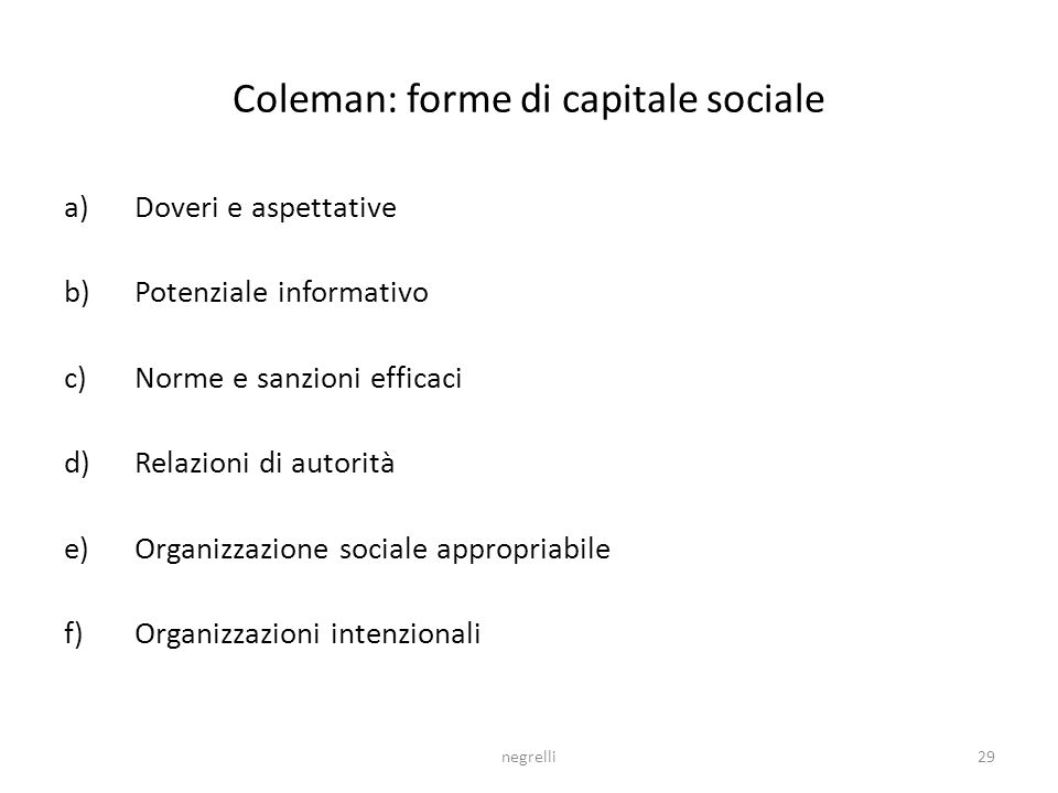 Coleman: forme di capitale sociale