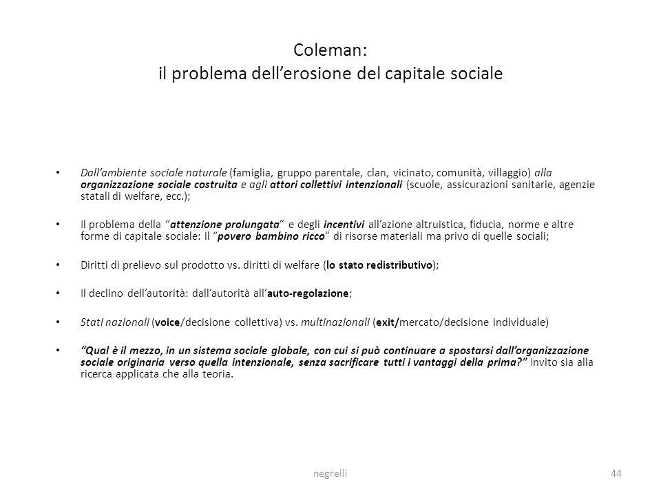 Coleman: il problema dell'erosione del capitale sociale