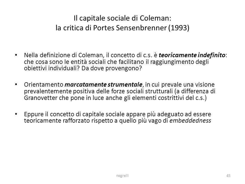Il capitale sociale di Coleman: la critica di Portes Sensenbrenner (1993)
