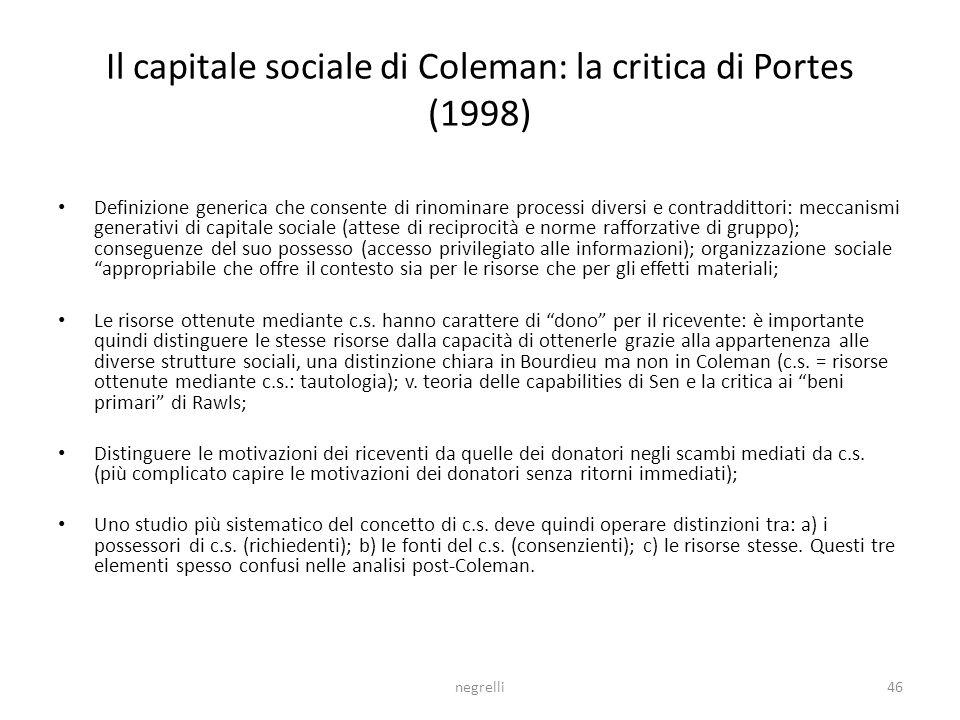 Il capitale sociale di Coleman: la critica di Portes (1998)