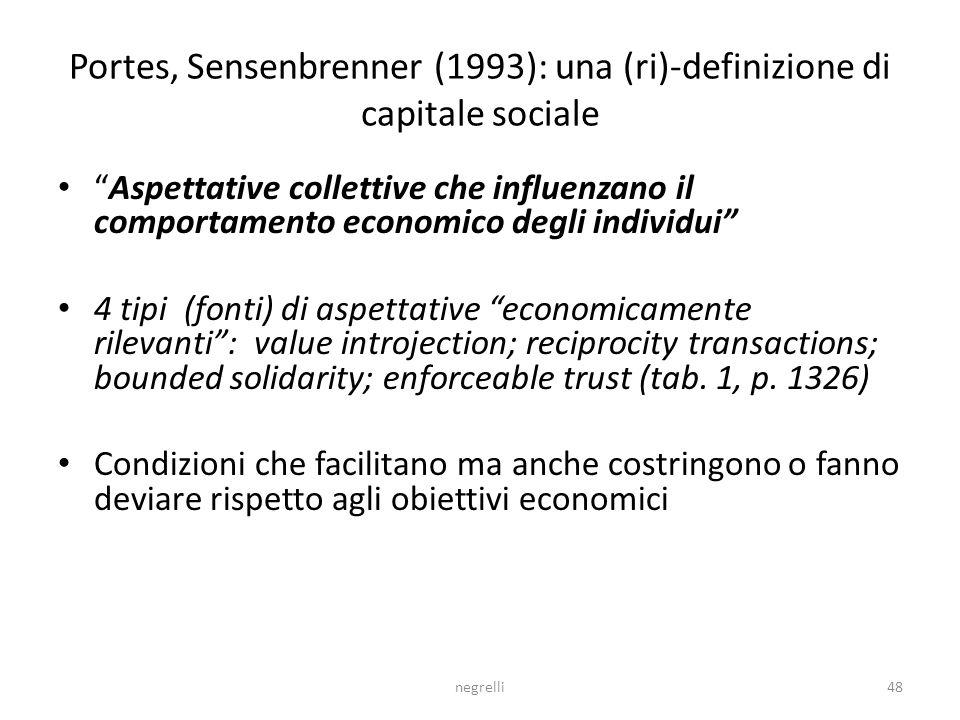 Portes, Sensenbrenner (1993): una (ri)-definizione di capitale sociale