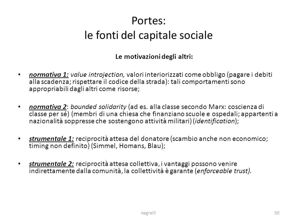 Portes: le fonti del capitale sociale