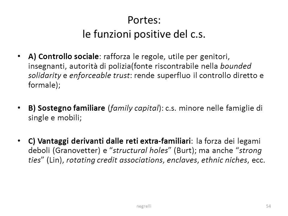 Portes: le funzioni positive del c.s.