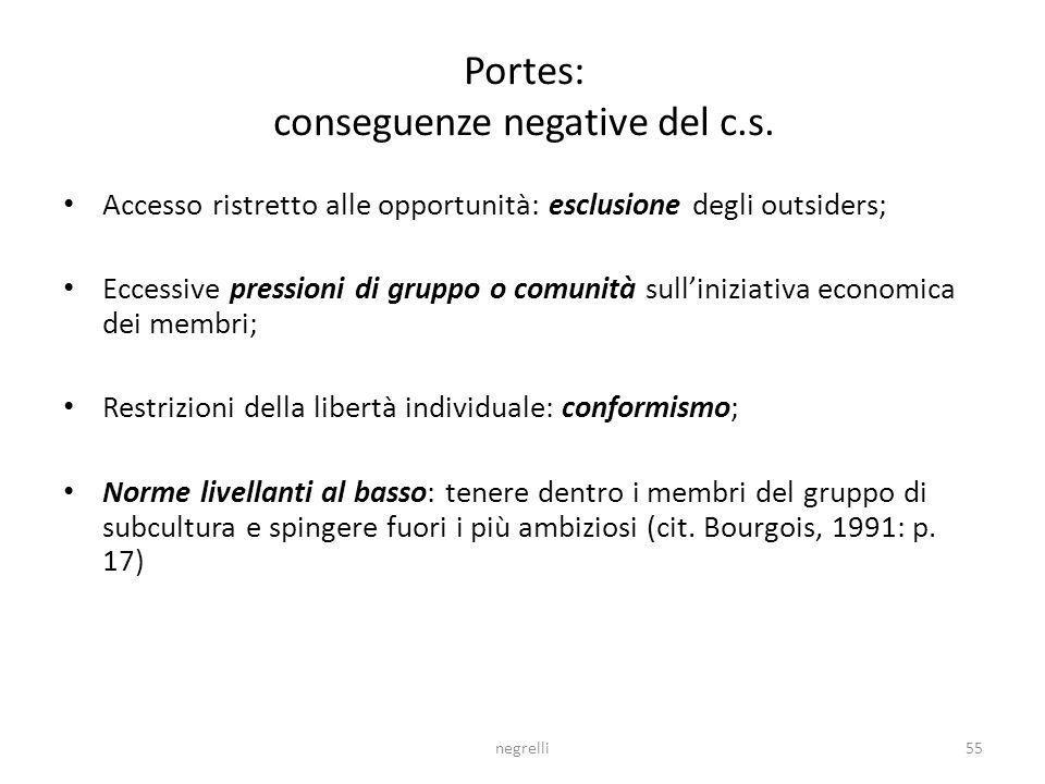 Portes: conseguenze negative del c.s.