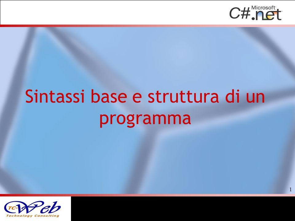 Sintassi base e struttura di un programma