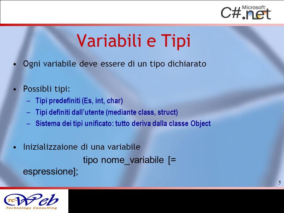 Variabili e Tipi Ogni variabile deve essere di un tipo dichiarato