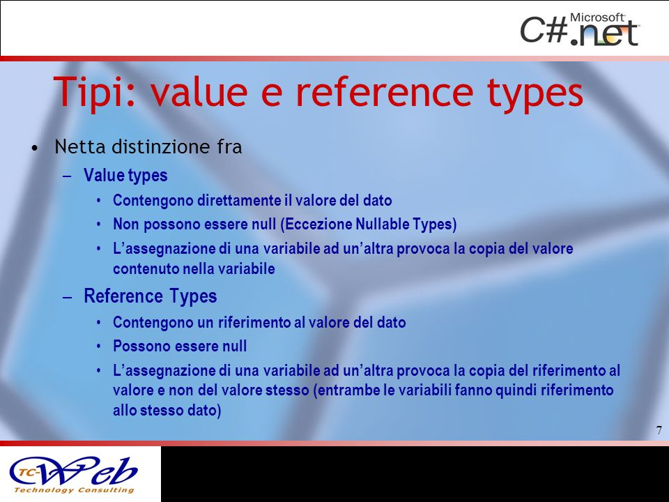 Tipi: value e reference types
