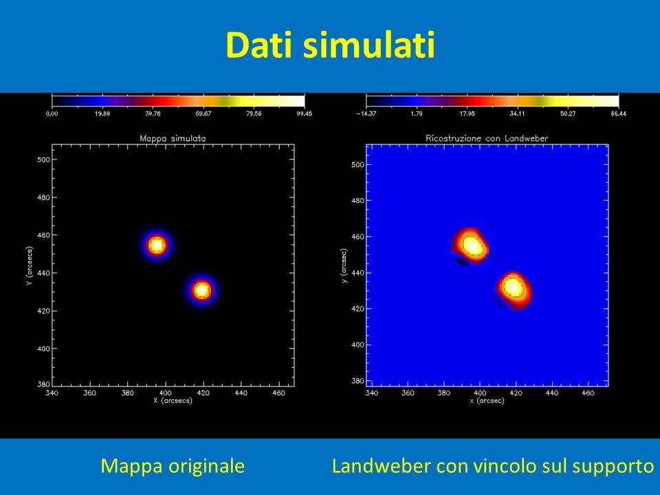 Dati simulati Mappa originale Landweber con vincolo sul supporto