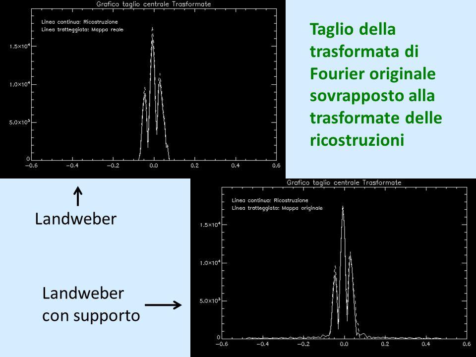 Taglio della trasformata di Fourier originale sovrapposto alla trasformate delle ricostruzioni