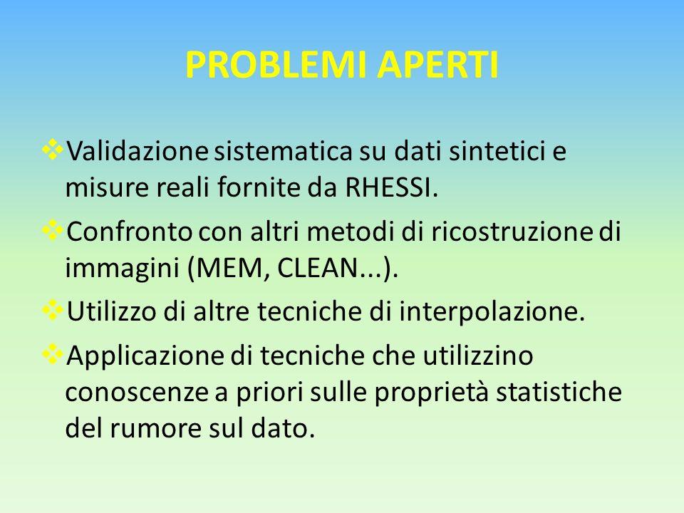 PROBLEMI APERTI Validazione sistematica su dati sintetici e misure reali fornite da RHESSI.