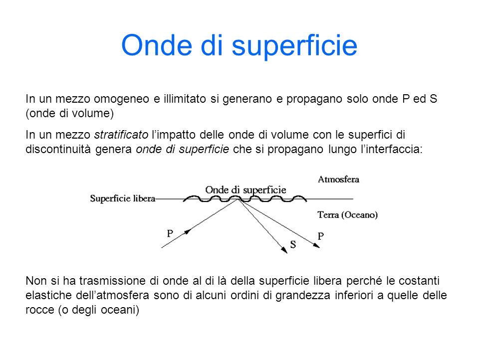 Onde di superficie In un mezzo omogeneo e illimitato si generano e propagano solo onde P ed S (onde di volume)