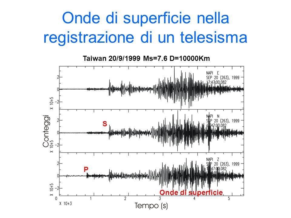 Onde di superficie nella registrazione di un telesisma
