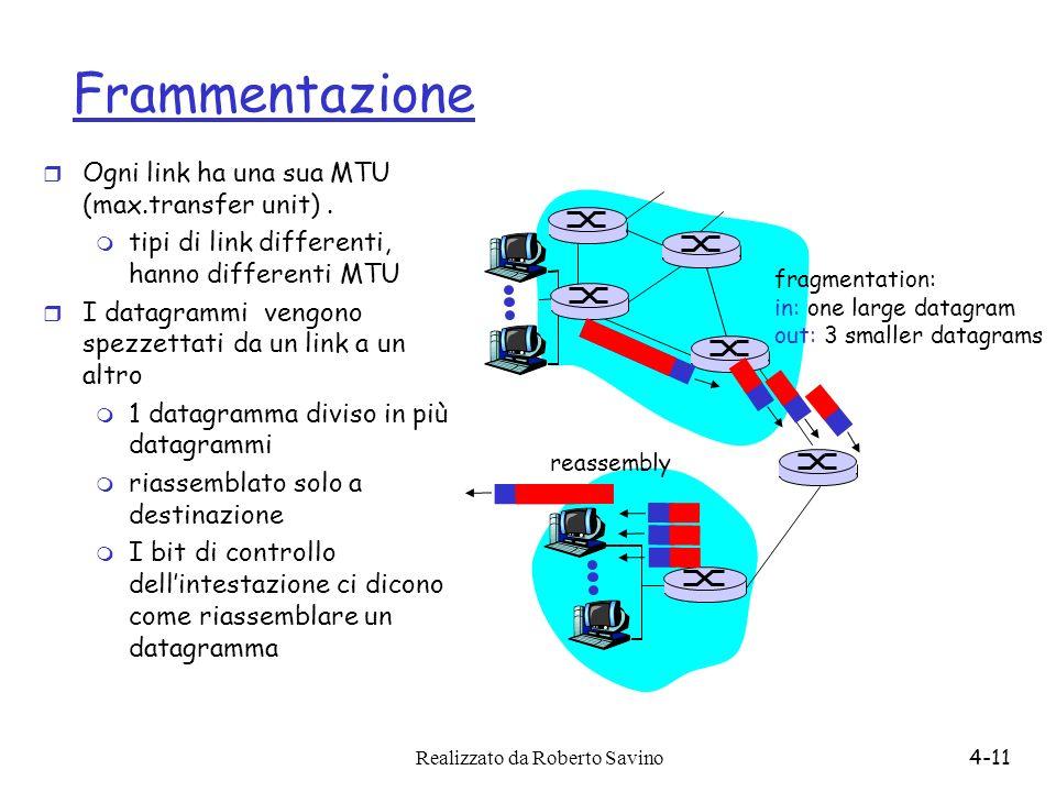 Frammentazione Ogni link ha una sua MTU (max.transfer unit) .