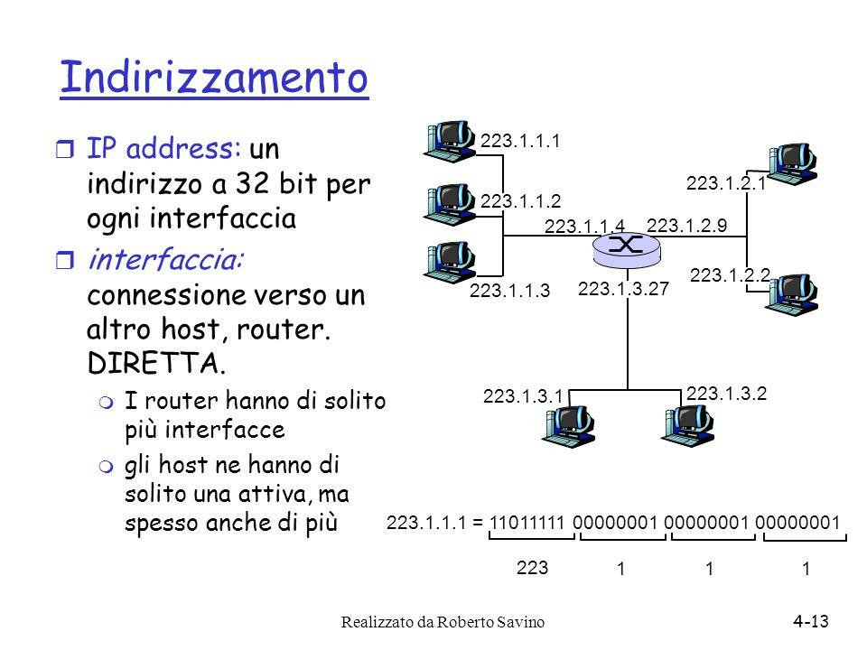 Indirizzamento IP address: un indirizzo a 32 bit per ogni interfaccia