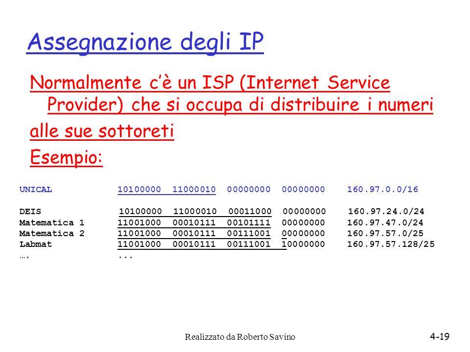 Assegnazione degli IP Normalmente c'è un ISP (Internet Service Provider) che si occupa di distribuire i numeri.