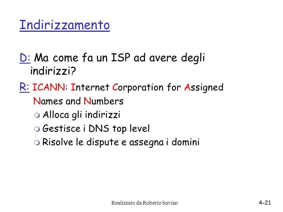 Indirizzamento D: Ma come fa un ISP ad avere degli indirizzi