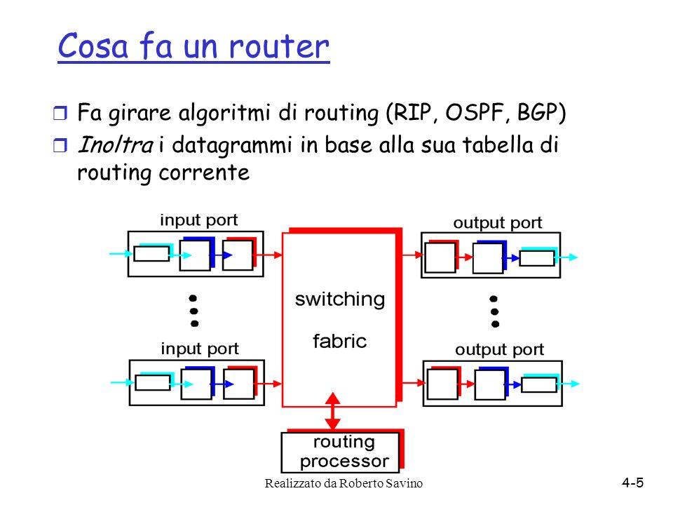 Cosa fa un router Fa girare algoritmi di routing (RIP, OSPF, BGP)