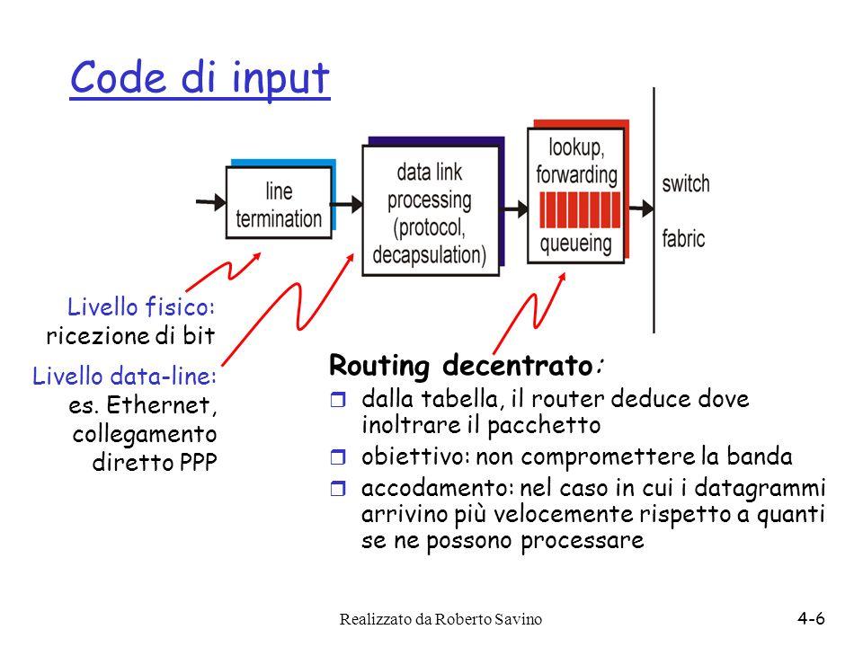 Code di input Routing decentrato: Livello fisico: ricezione di bit