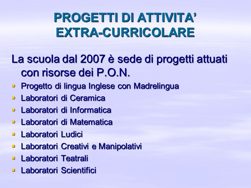 PROGETTI DI ATTIVITA' EXTRA-CURRICOLARE