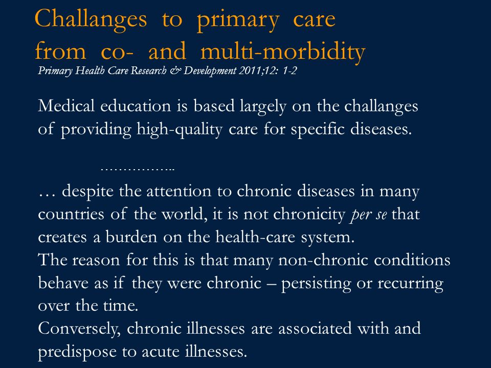 Challanges to primary care from co- and multi-morbidity