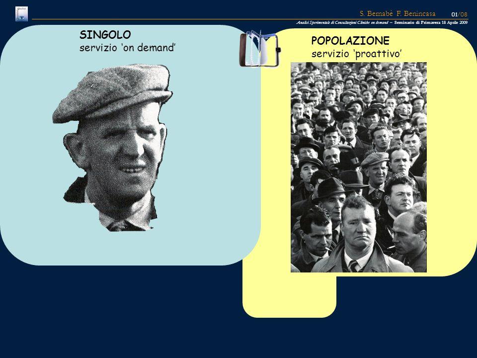 SINGOLO servizio 'on demand' POPOLAZIONE servizio 'proattivo'