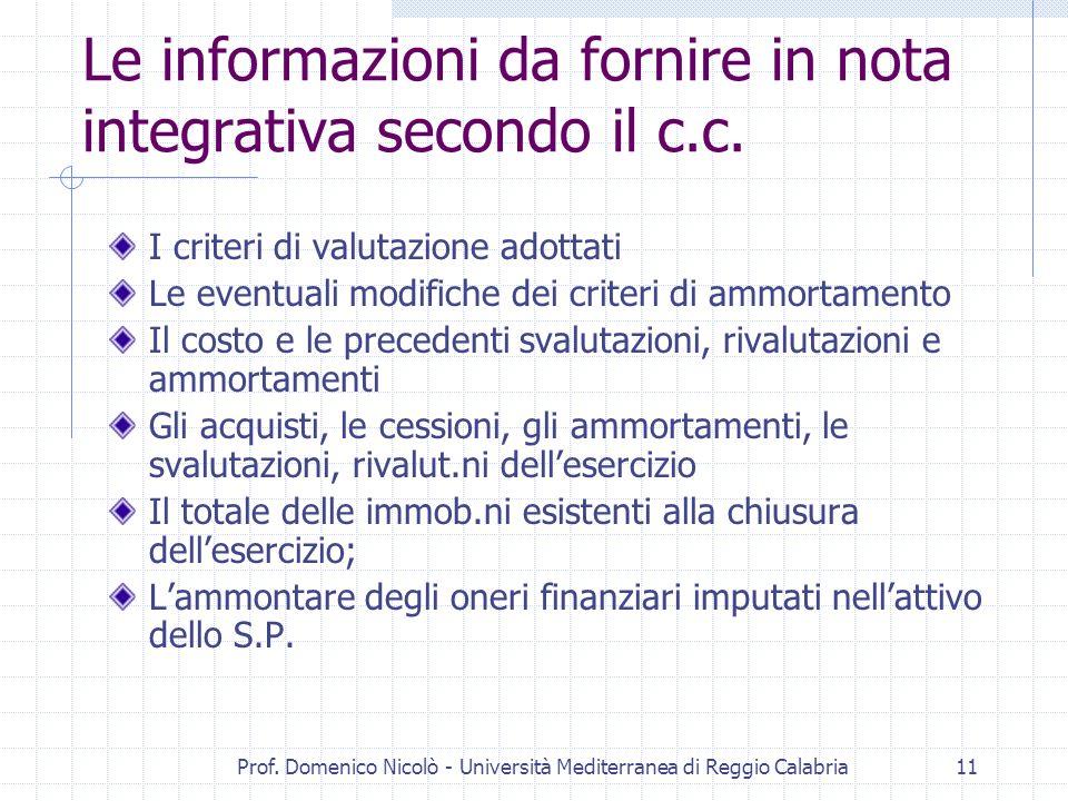 Le informazioni da fornire in nota integrativa secondo il c.c.