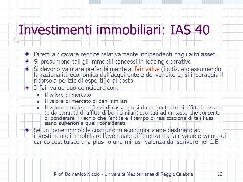 Investimenti immobiliari: IAS 40