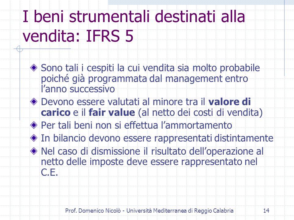 I beni strumentali destinati alla vendita: IFRS 5