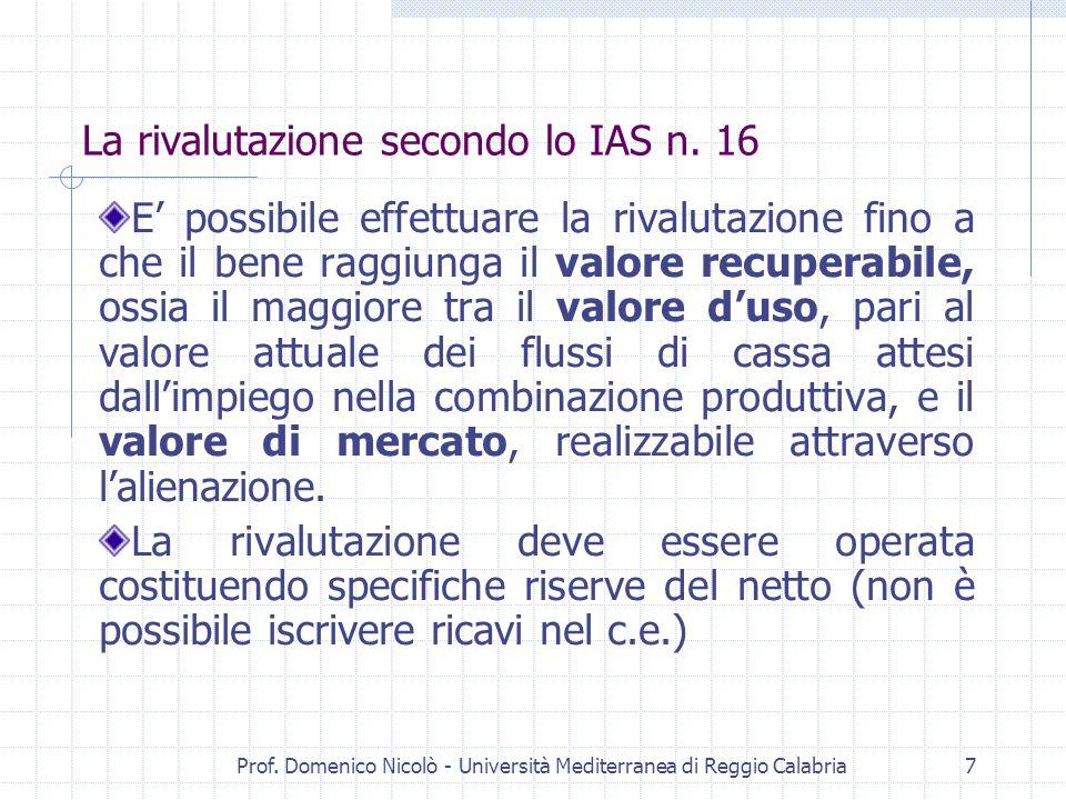 La rivalutazione secondo lo IAS n. 16