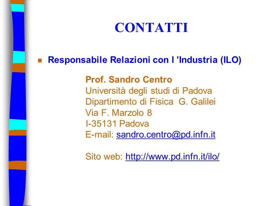 CONTATTI Responsabile Relazioni con l 'Industria (ILO)