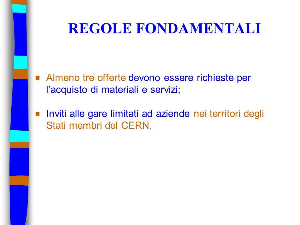 REGOLE FONDAMENTALIAlmeno tre offerte devono essere richieste per l'acquisto di materiali e servizi;