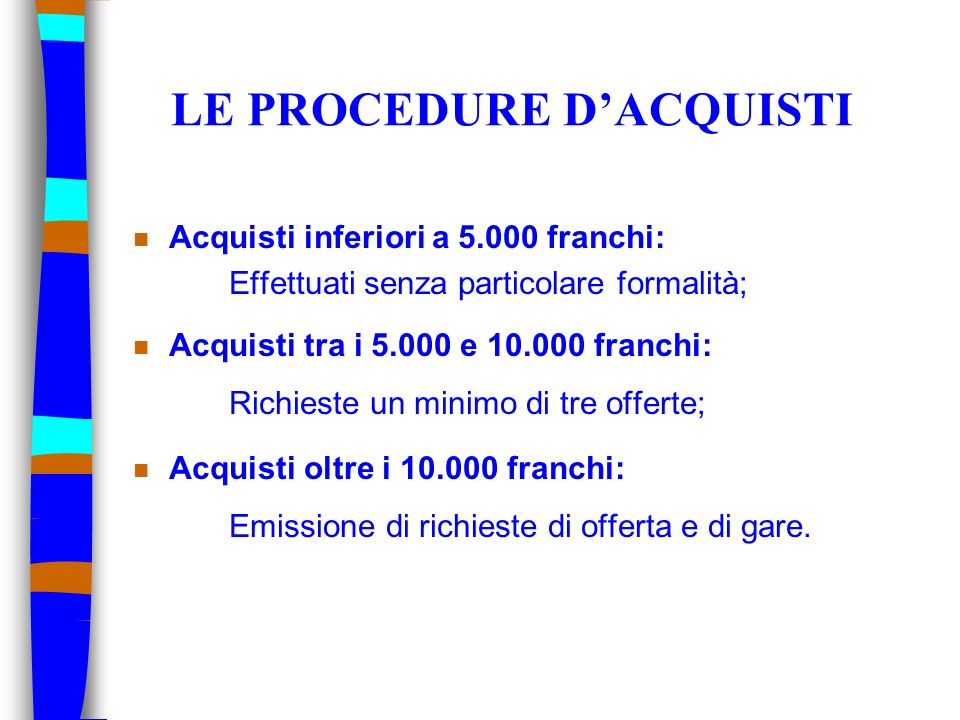 LE PROCEDURE D'ACQUISTI