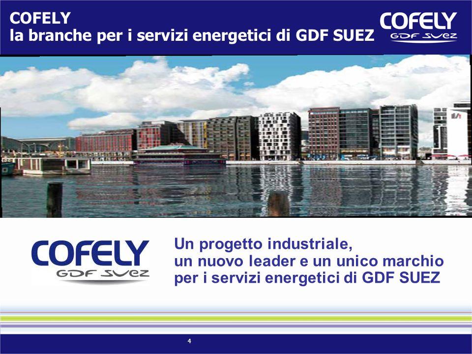 COFELY la branche per i servizi energetici di GDF SUEZ. Un progetto industriale, un nuovo leader e un unico marchio.