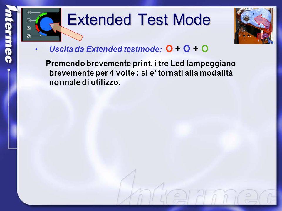 Extended Test Mode Uscita da Extended testmode: O + O + O