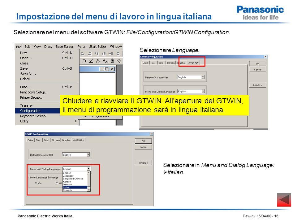 Impostazione del menu di lavoro in lingua italiana