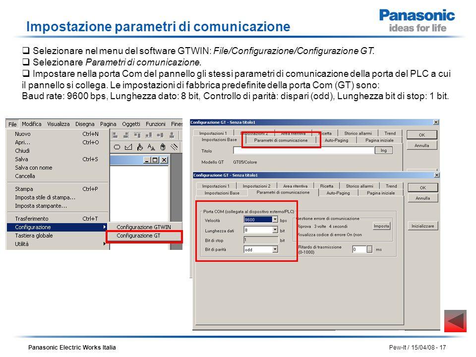 Impostazione parametri di comunicazione