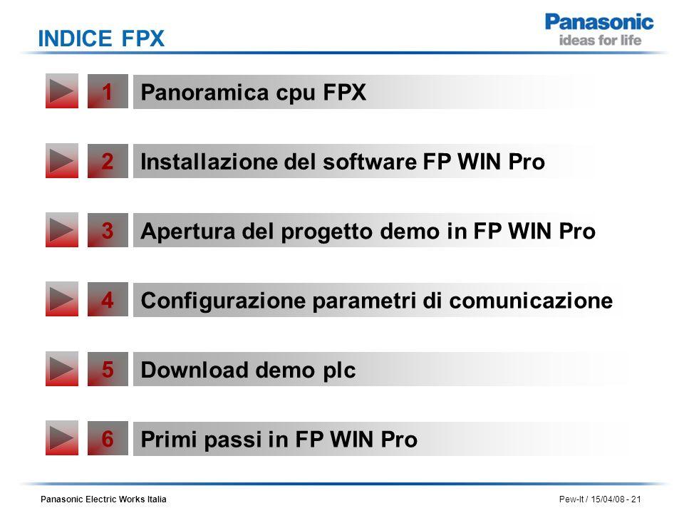 INDICE FPX 1. Panoramica cpu FPX. 2. Installazione del software FP WIN Pro. 3. Apertura del progetto demo in FP WIN Pro.