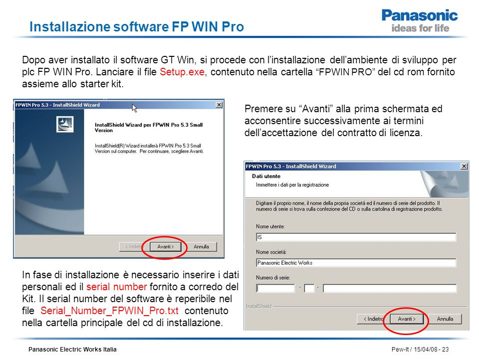 Installazione software FP WIN Pro