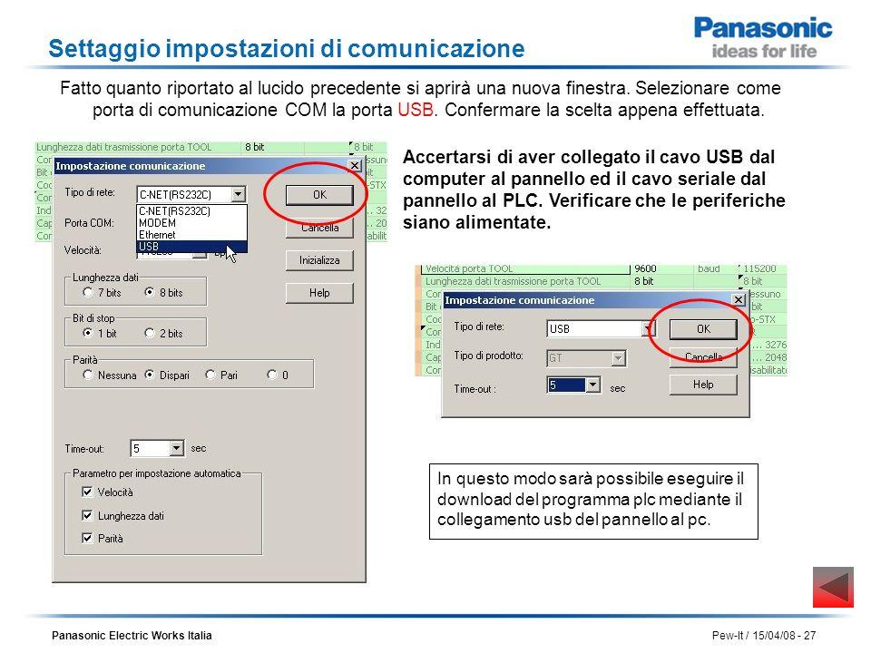 Settaggio impostazioni di comunicazione