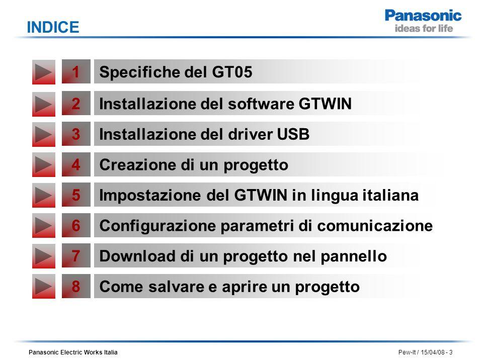 INDICE 1. Specifiche del GT05. 2. Installazione del software GTWIN. 3. Installazione del driver USB.