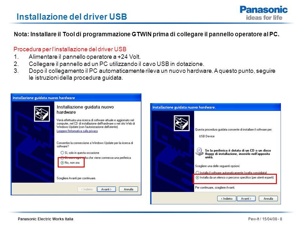 Installazione del driver USB