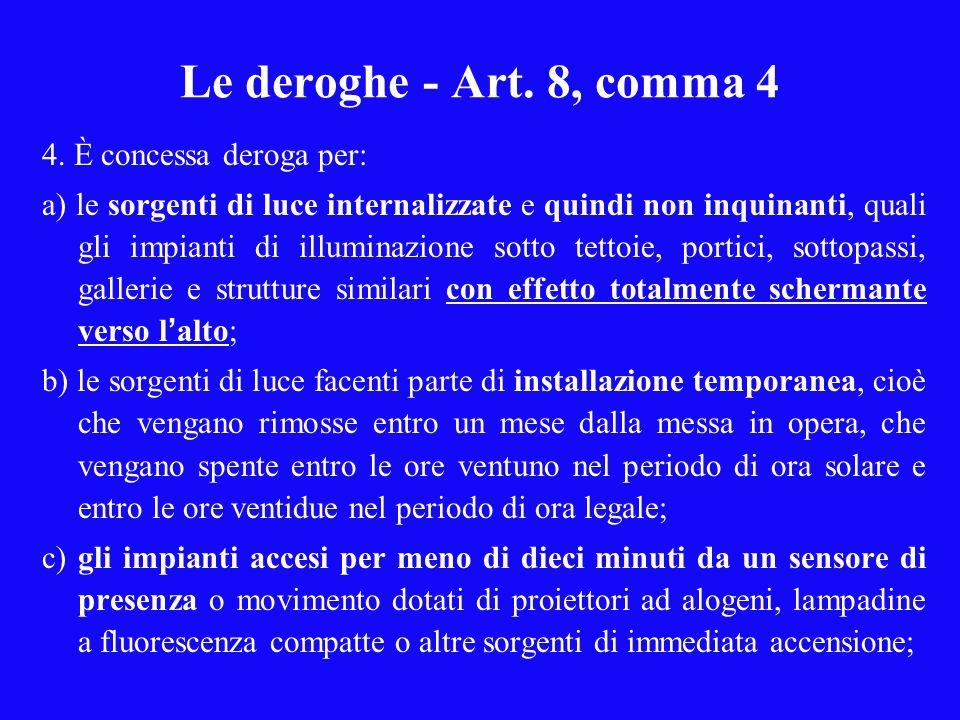Le deroghe - Art. 8, comma 4 4. È concessa deroga per: