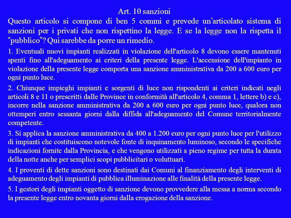 Art. 10 sanzioni