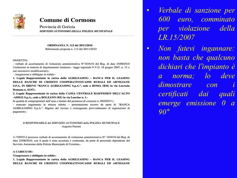 Verbale di sanzione per 600 euro, comminato per violazione della LR