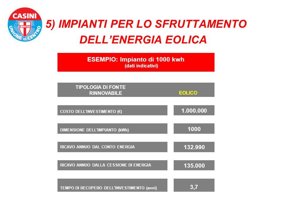 5) IMPIANTI PER LO SFRUTTAMENTO DELL'ENERGIA EOLICA