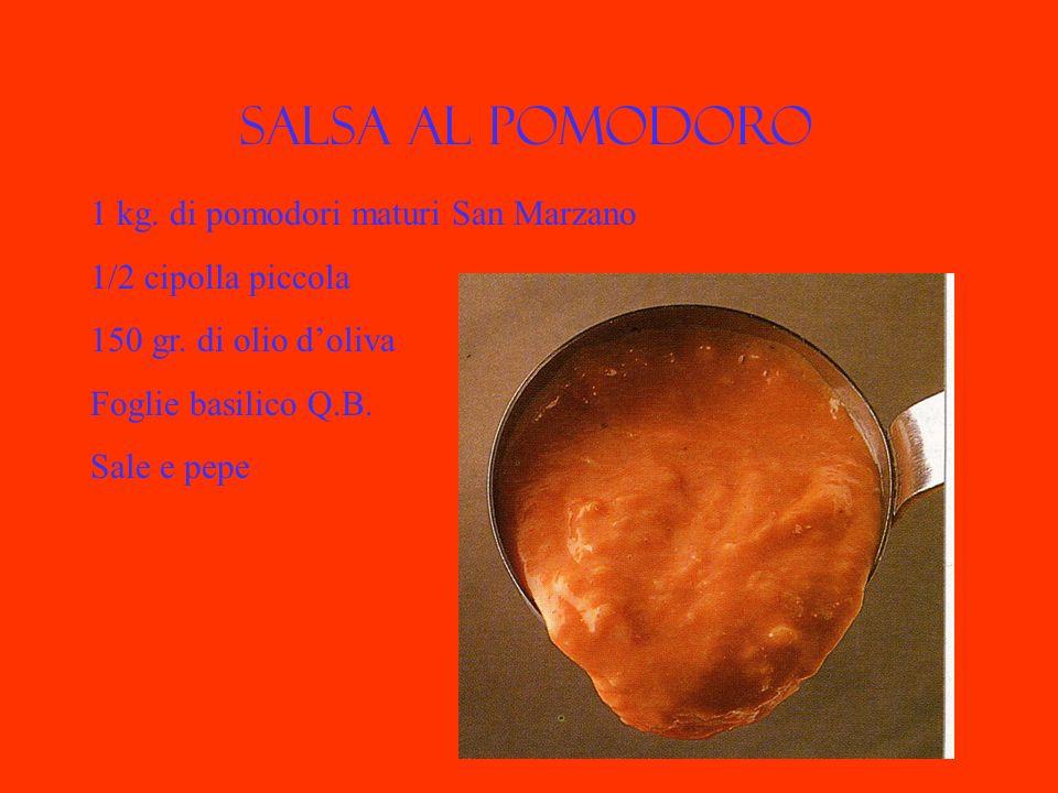 Salsa al pomodoro 1 kg. di pomodori maturi San Marzano