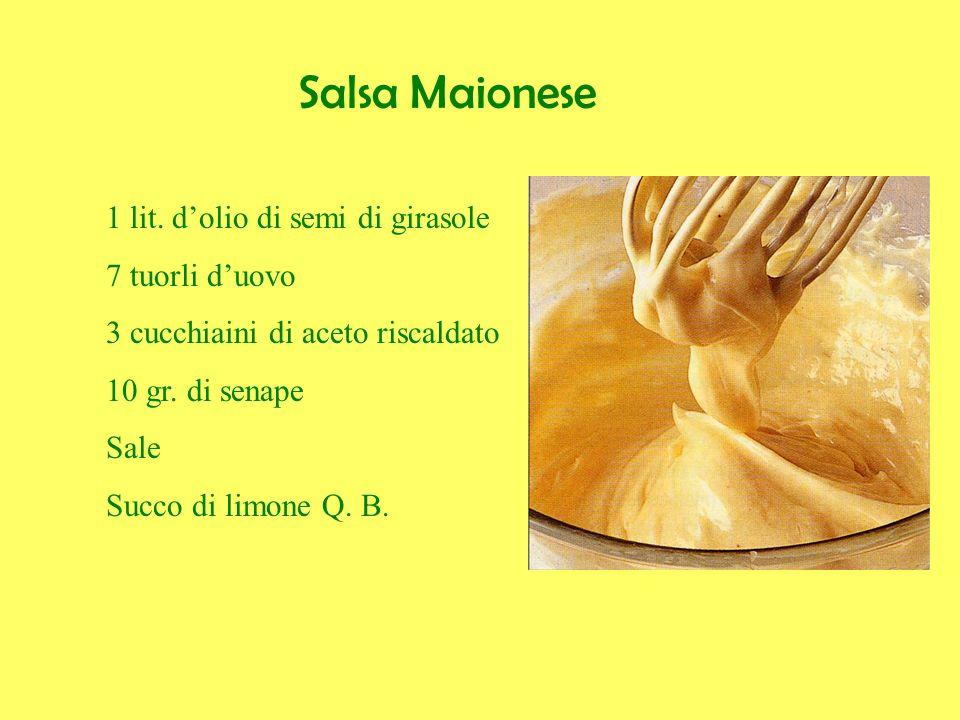 Salsa Maionese 1 lit. d'olio di semi di girasole 7 tuorli d'uovo